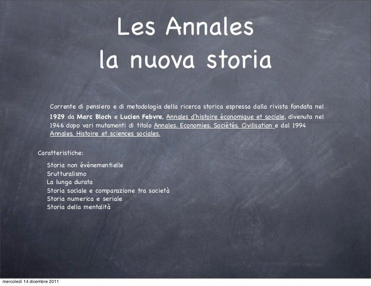 Les Annales                                     la nuova storia                     Corrente di pensiero e di metodologia ...