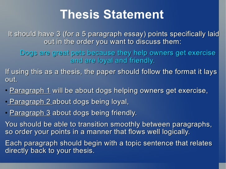where is the thesis statement in a 5 paragraph essay