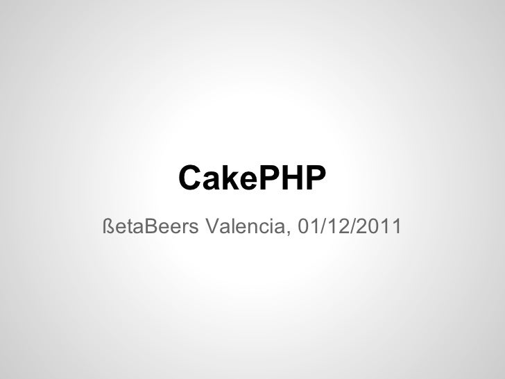 Intro a cakephp