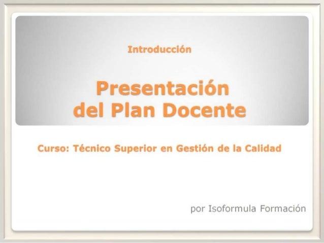 Plan docente (Curso Tecnico Superior en Gestión de la Calidad)