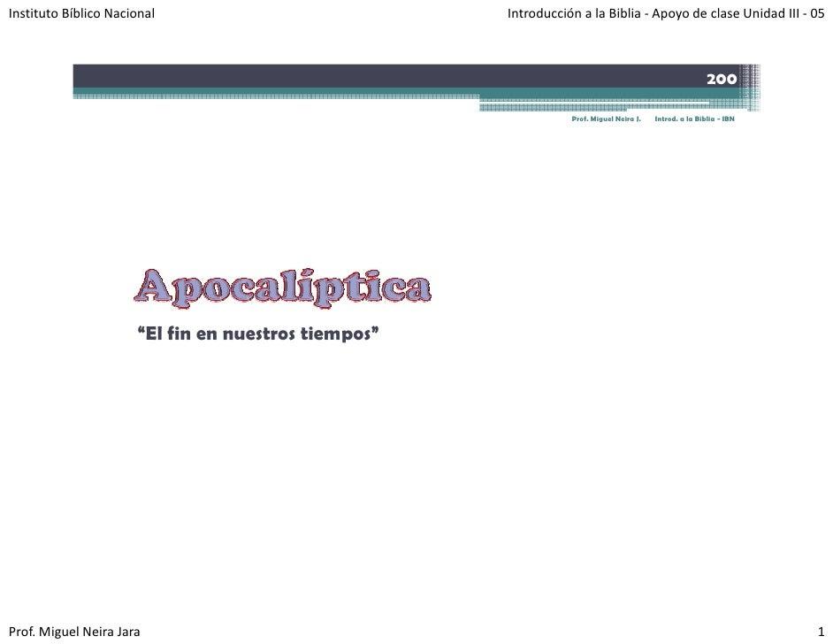 InstitutoBíblicoNacional                           IntroducciónalaBiblia‐ ApoyodeclaseUnidadIII‐ 05            ...
