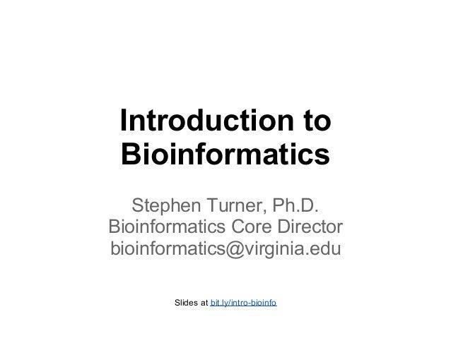 Introduction to Bioinformatics for UVA Cell Bio 8401