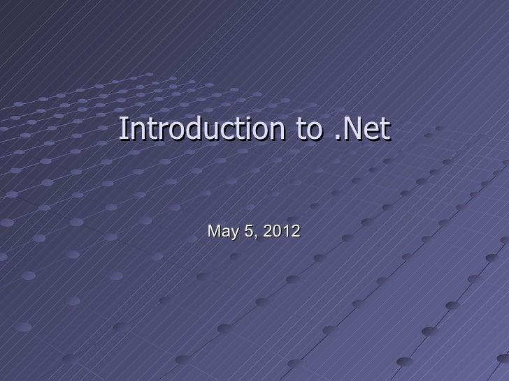 Intro dotnet