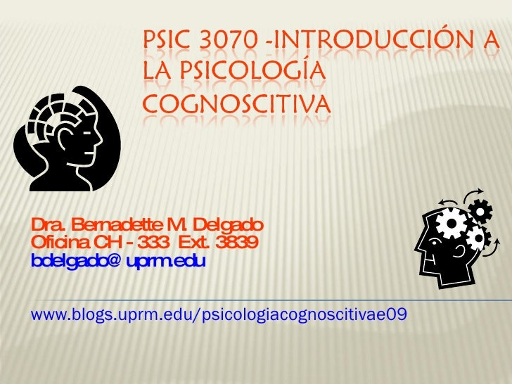 Dra. Bernadette M. Delgado Oficina CH - 333  Ext. 3839  [email_address] www.blogs.uprm.edu/psicologiacognoscitivae09
