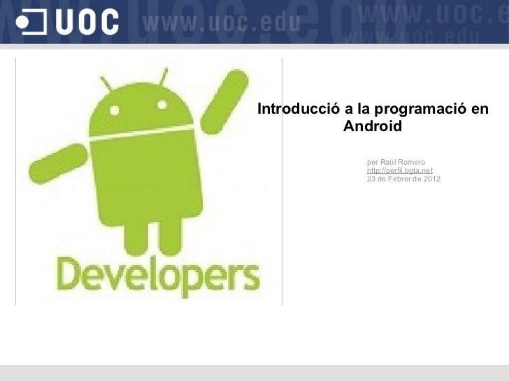 Introducció a la programació en Android