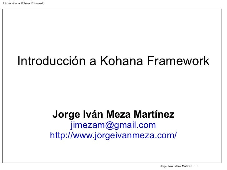 Introducción a Kohana Framework