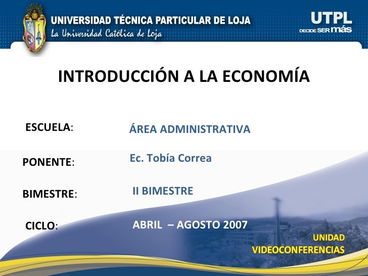 Introducción a la Economía (II Bimestre)