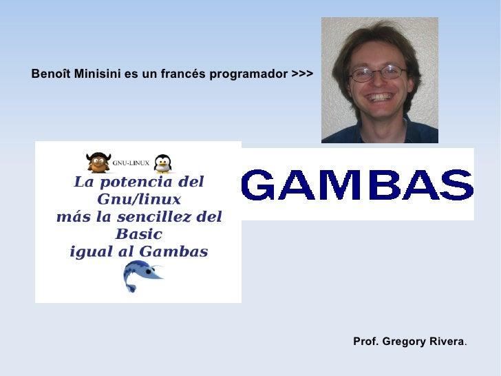 Benoît Minisini es un francés programador >>>                                                Prof. Gregory Rivera.