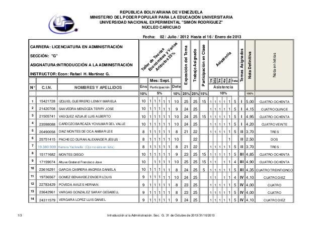 Introducción a la administración. sec.  g. 31 de octubre de 2013