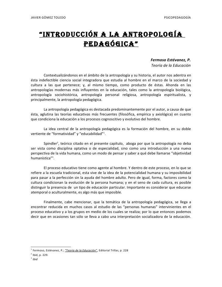 "JAVIER GÓMEZ TOLEDO                                                                    PSICOPEDAGOGÍA          ""INTRODUCCI..."