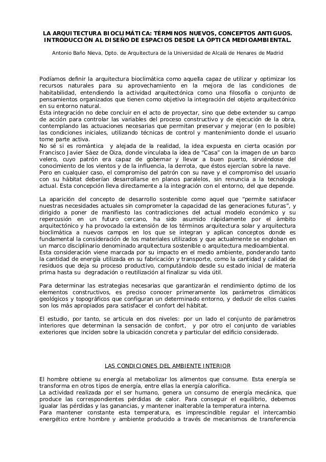 LA ARQUITECTURA BIOCLIMÁTICA: TÉRMINOS NUEVOS, CONCEPTOS ANTIGUOS. INTRODUCCIÓN AL DISEÑO DE ESPACIOS DESDE LA ÓPTICA MEDI...