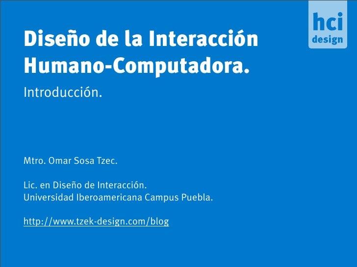 Introducción al Diseño de la Interacción Humano-Computadora