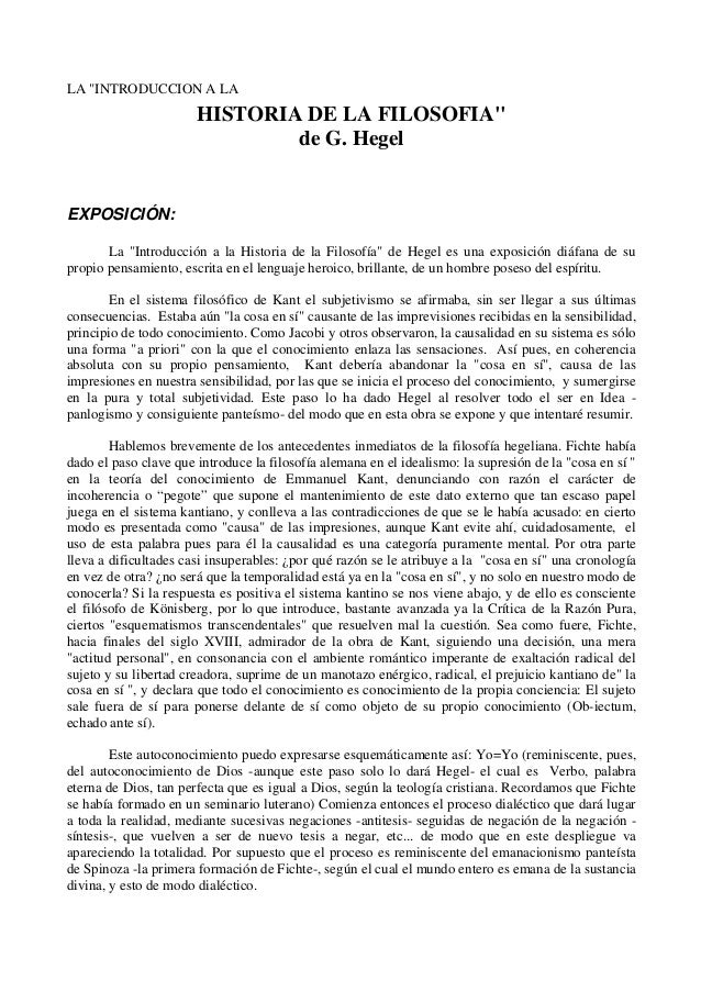 """LA """"INTRODUCCION A LAHISTORIA DE LA FILOSOFIA""""de G. HegelEXPOSICIÓN:La """"Introducción a la Historia de la Filosofía"""" de Heg..."""