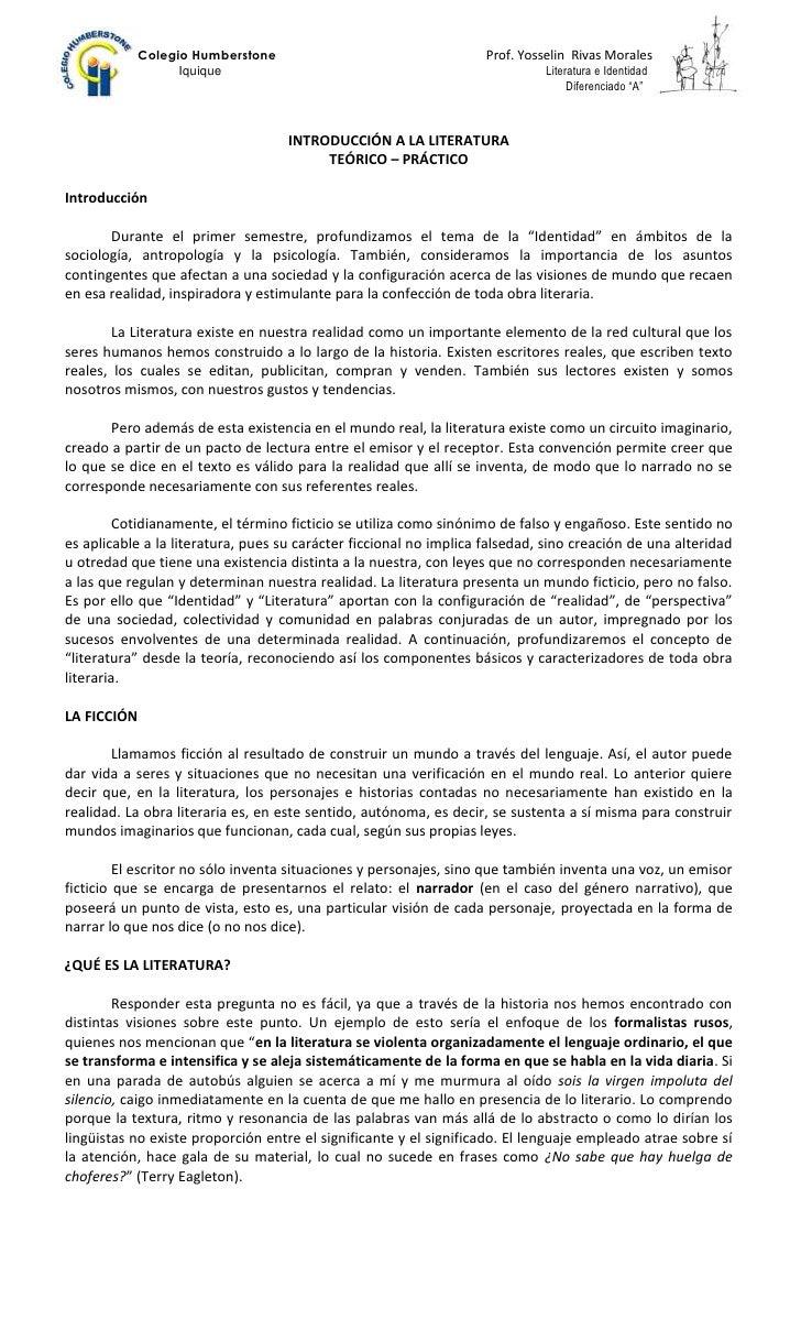 INTRODUCCIÓN A LA LITERATURA<br />TEÓRICO – PRÁCTICO<br />Introducción <br />Durante el primer semestre, profundizamos el ...