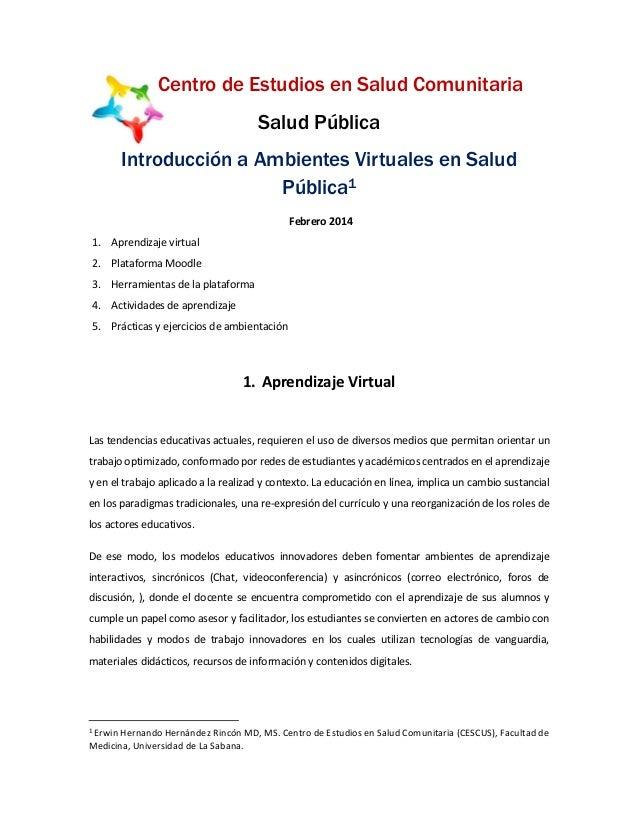 Centro de Estudios en Salud Comunitaria Salud Pública Introducción a Ambientes Virtuales en Salud Pública1 Febrero 2014 1....