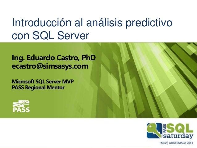 Introducción al análisis predictivo con SQL Server
