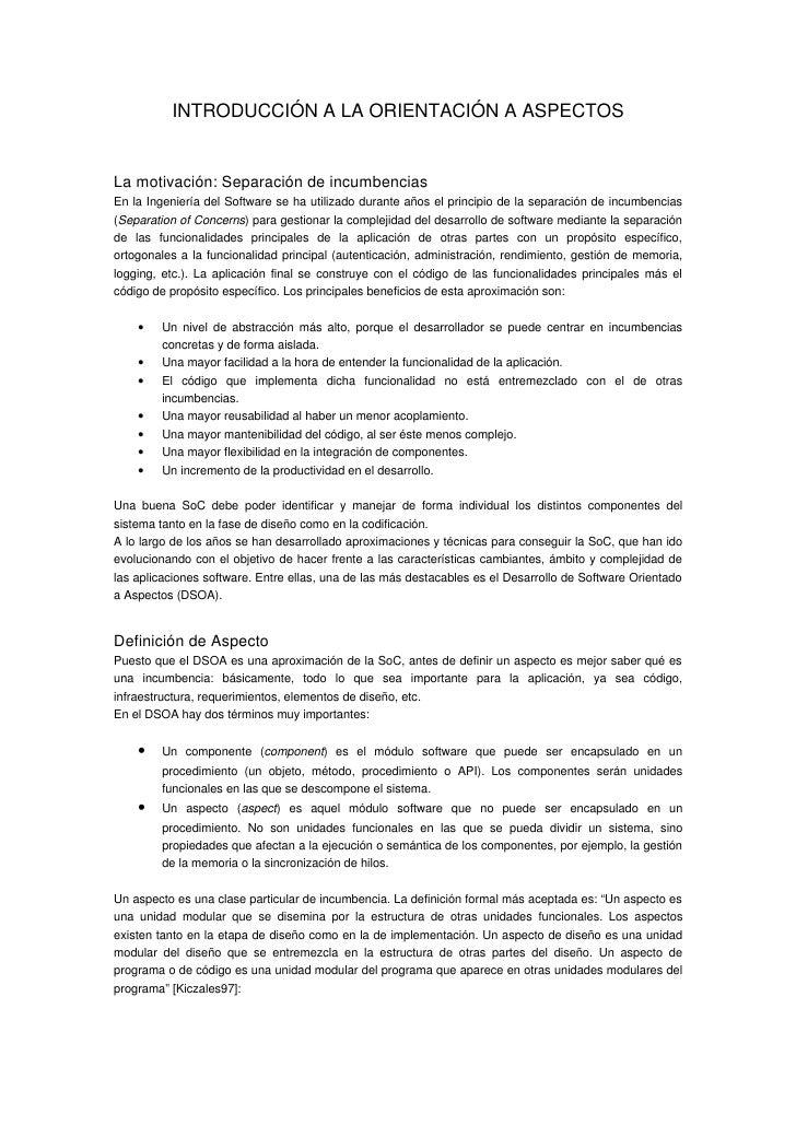 INTRODUCCIÓNALAORIENTACIÓNAASPECTOS   Lamotivación:Separacióndeincumbencias EnlaIngenieríadelSoftwaresehau...