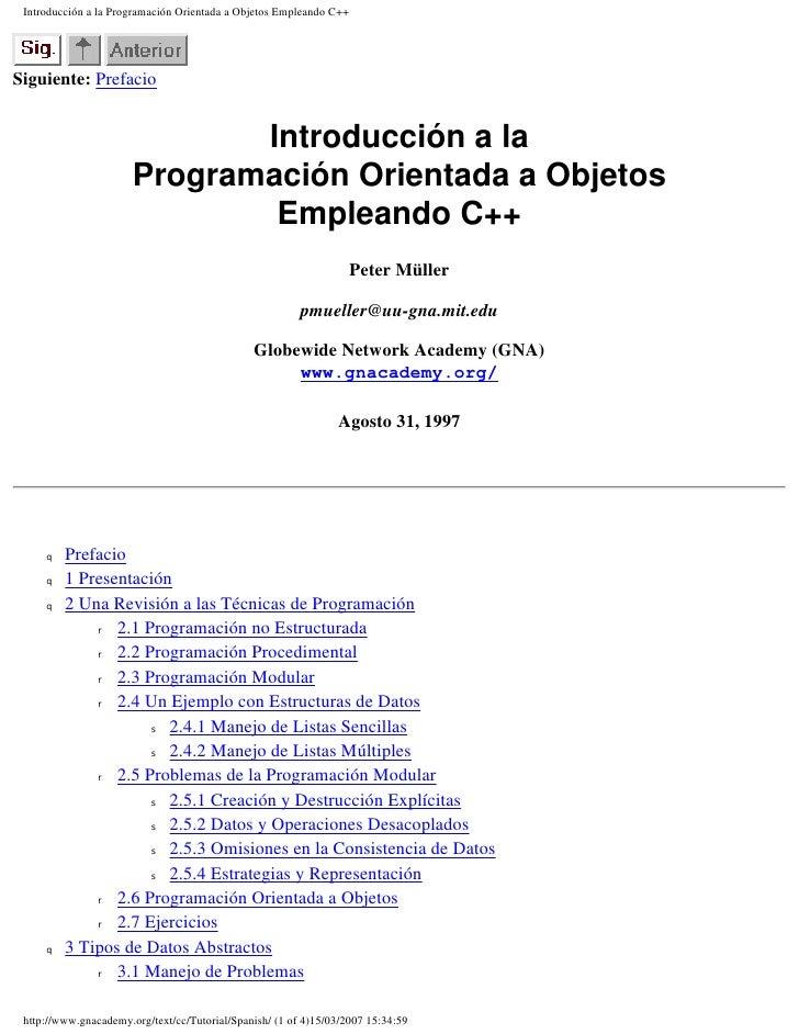Introducción a la programación orientada a objetos empleando c++