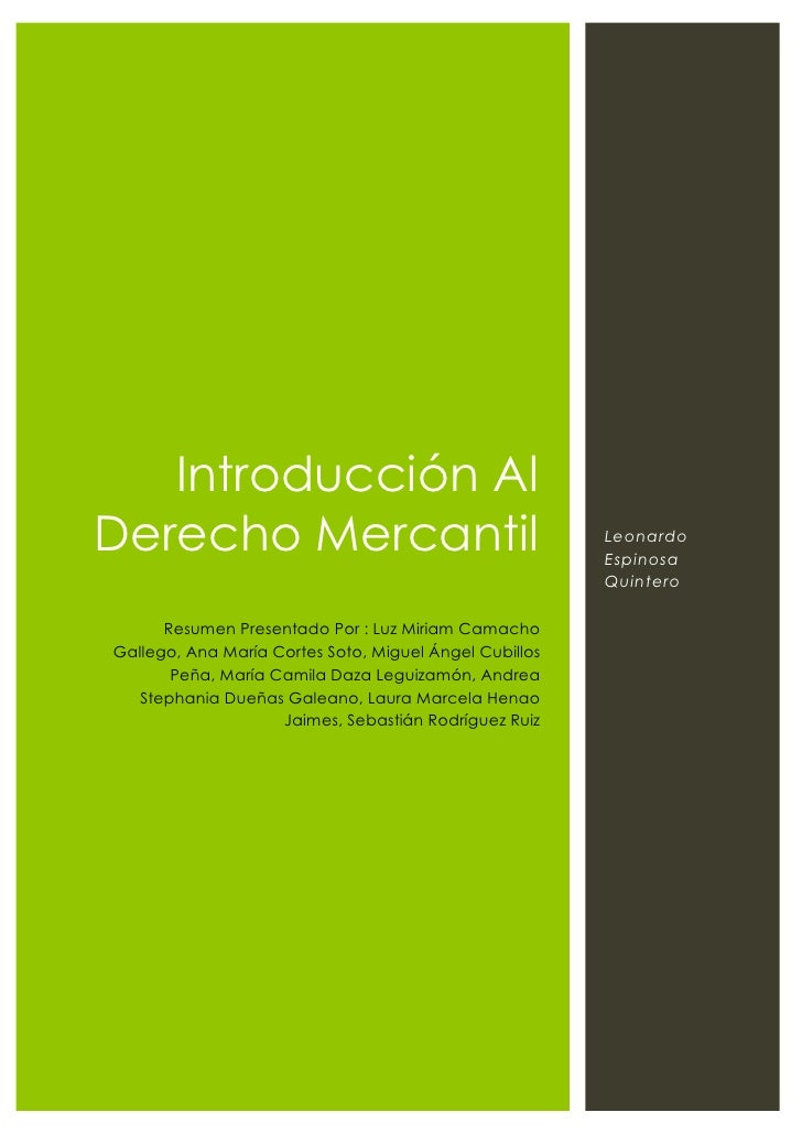 Introducción al derecho comercial - Leonardo Espinosa Quintero