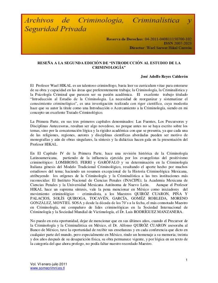 """RESEÑA A LA SEGUNDA EDICIÓN DE """"INTRODUCCIÓN AL ESTUDIO DE LA                           CRIMINOLOGÍA""""                     ..."""
