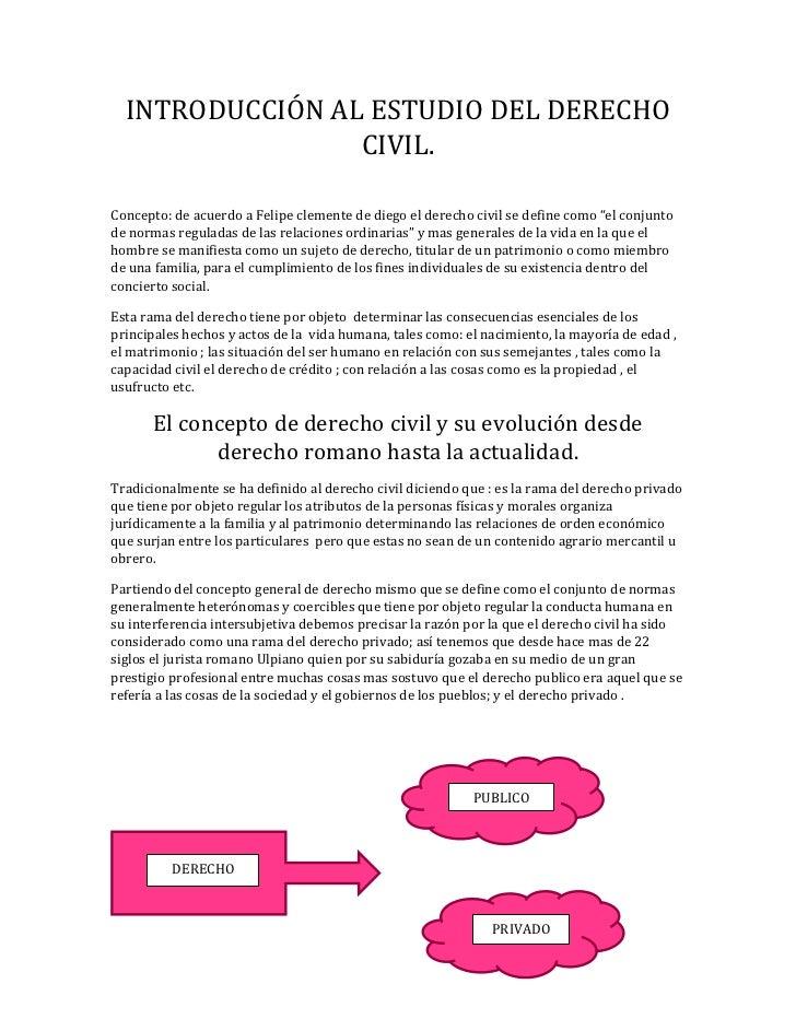 INTRODUCCIÓN AL ESTUDIO DEL DERECHO                 CIVIL.Concepto: de acuerdo a Felipe clemente de diego el derecho civil...