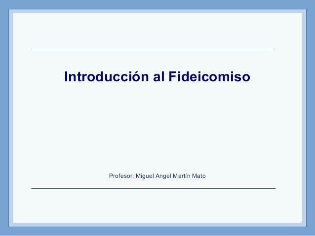 Introducción al Fideicomiso Profesor: Miguel Angel Martín Mato