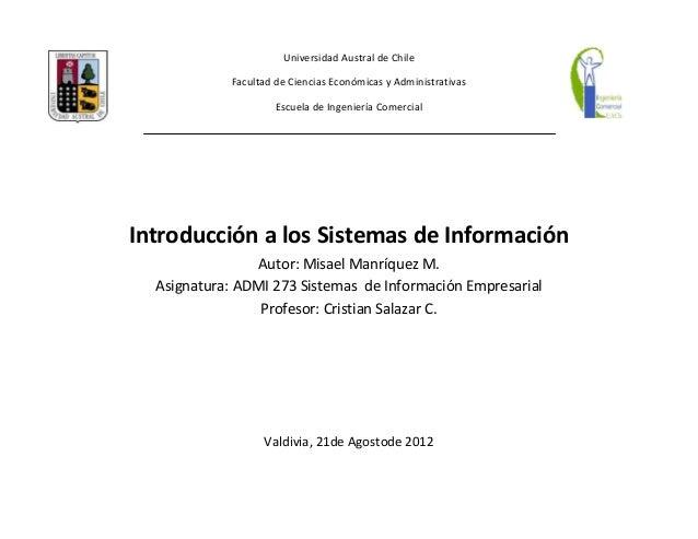 Universidad Austral de Chile            Facultad de Ciencias Económicas y Administrativas                     Escuela de I...