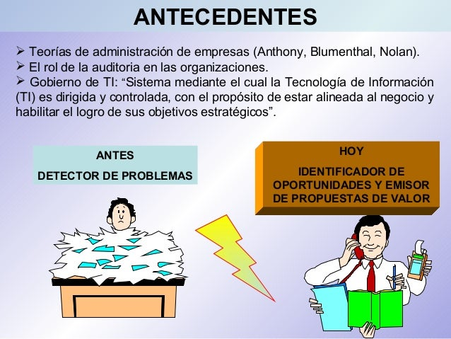  Teorías de administración de empresas (Anthony, Blumenthal, Nolan).  El rol de la auditoria en las organizaciones.  Go...