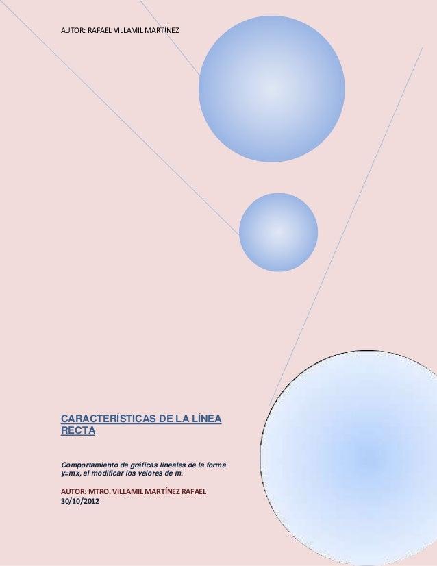 AUTOR: RAFAEL VILLAMIL MARTÍNEZCARACTERÍSTICAS DE LA LÍNEARECTAComportamiento de gráficas lineales de la formay=mx, al mod...