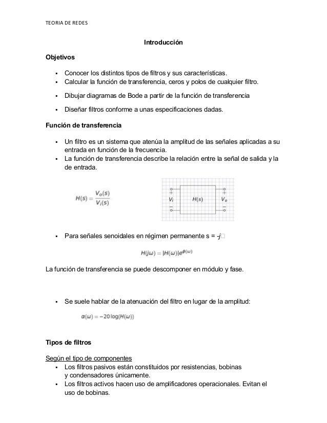 TEORIA DE REDES Introducción Objetivos  Conocer los distintos tipos de filtros y sus características.  Calcular la funci...
