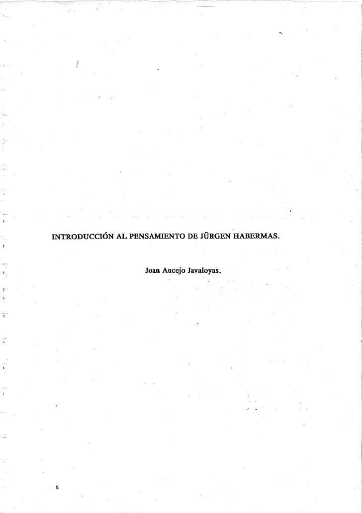 Introduccion Al Pensamiento De J.Habermas. Joan Aucejo