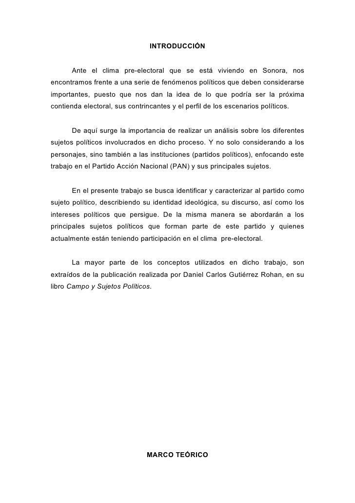 INTRODUCCIÓN          Ante el clima pre-electoral que se está viviendo en Sonora, nos encontramos frente a una serie de fe...