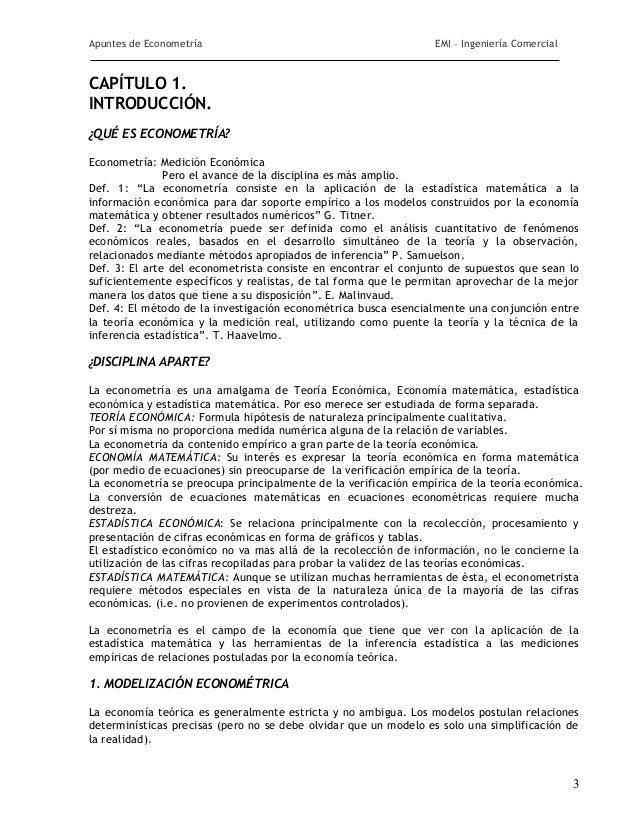 Apuntes de Econometría                                           EMI – Ingeniería ComercialCAPÍTULO 1.INTRODUCCIÓN.¿QUÉ ES...