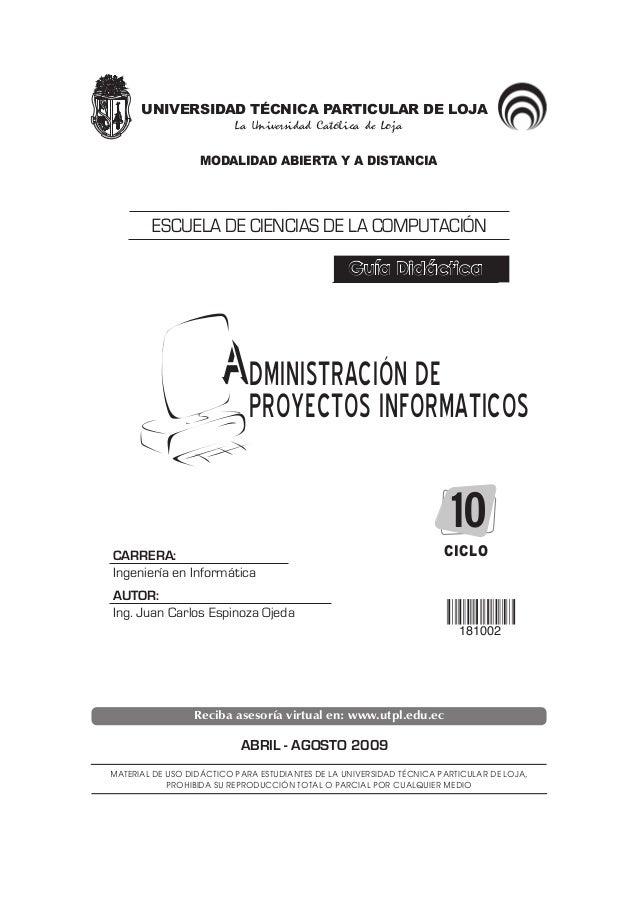 UNIVERSIDAD TÉCNICA PARTICULAR DE LOJA La Universidad Católica de Loja MODALIDAD ABIERTA Y A DISTANCIA CARRERA: Ingeniería...