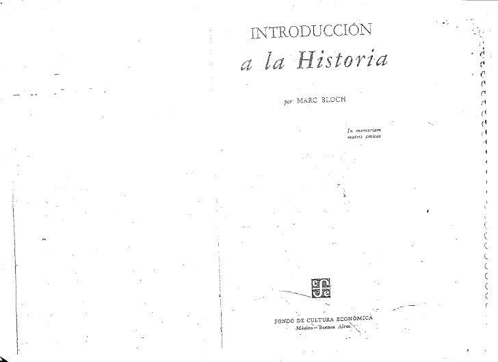 Introduccion a la historia por Marc Bloch