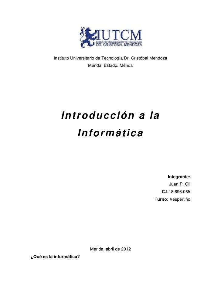 Instituto Universitario de Tecnología Dr. Cristóbal Mendoza                           Mérida, Estado. Mérida              ...