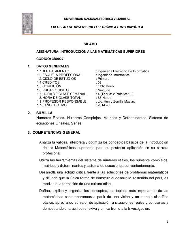 UNIVERSIDAD NACIONAL FEDERICO VILLARREAL FACULTAD DE INGENIERIA ELECTRÓNICA E INFORMÁTICA 1 SILABO ASIGNATURA: INTRODUCCIÓ...