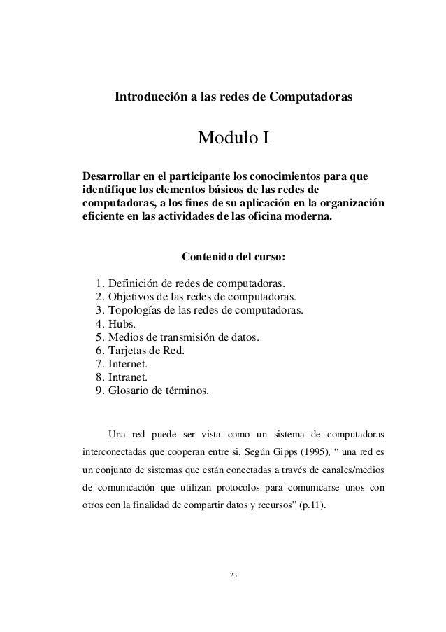Introducción a las redes de Computadoras                            Modulo IDesarrollar en el participante los conocimient...