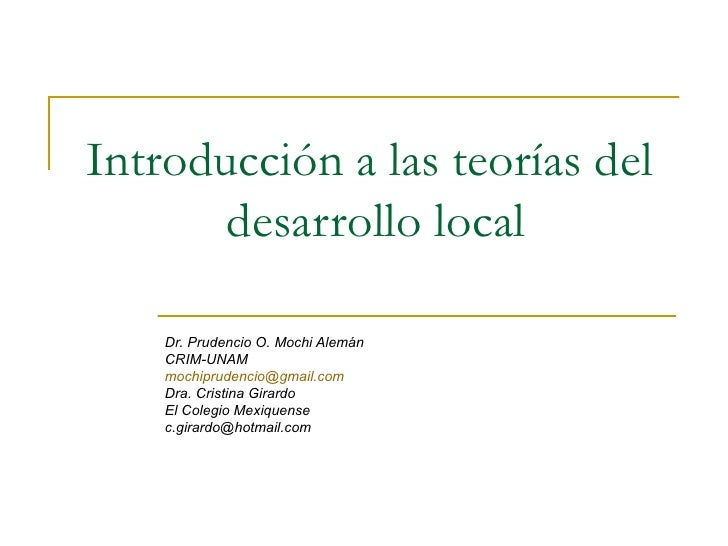 Introduccion A Las Teorias Del Desarrollo Local