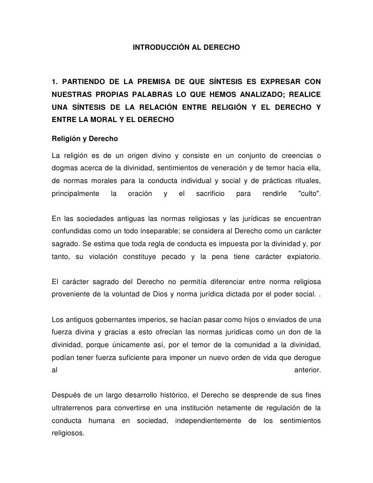 INTRODUCCIÓN AL DERECHO1. PARTIENDO DE LA PREMISA DE QUE SÍNTESIS ES EXPRESAR CON NUESTRAS PROPIAS PALABRAS LO QUE HEMOS A...