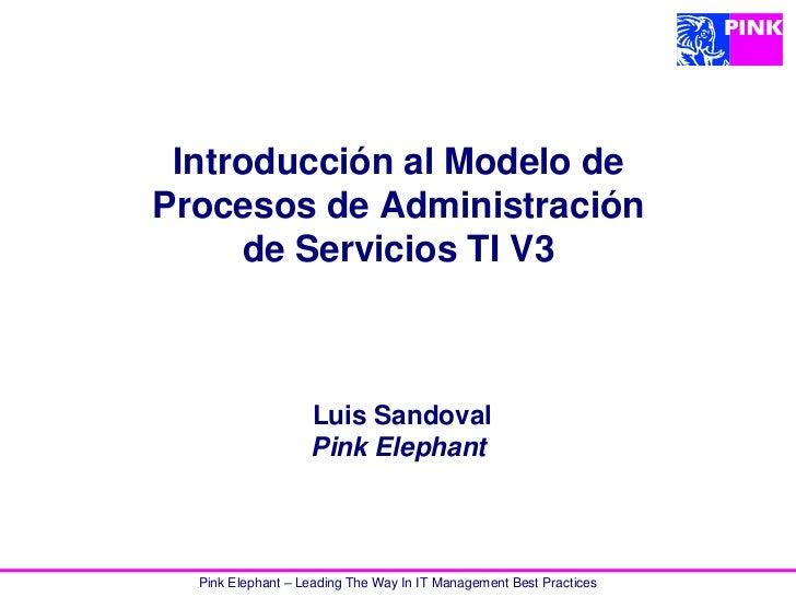 Introducción al Modelo deProcesos de Administración     de Servicios TI V3                   Luis Sandoval                ...