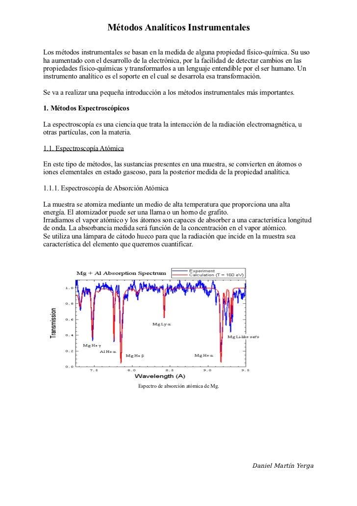 Introducción a los métodos analíticos instrumentales
