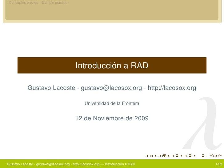 Introduccion a RAD (Rapid application development)