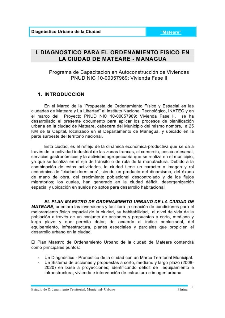 """Diagnóstico Urbano de la Ciudad                                    """"Mateare""""  I. DIAGNOSTICO PARA EL ORDENAMIENTO FISICO E..."""