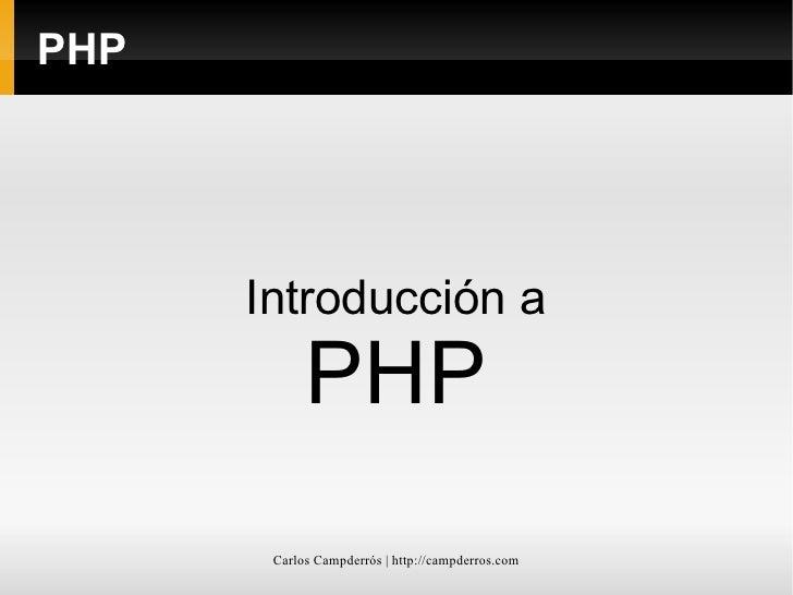 PHP Introducción a PHP