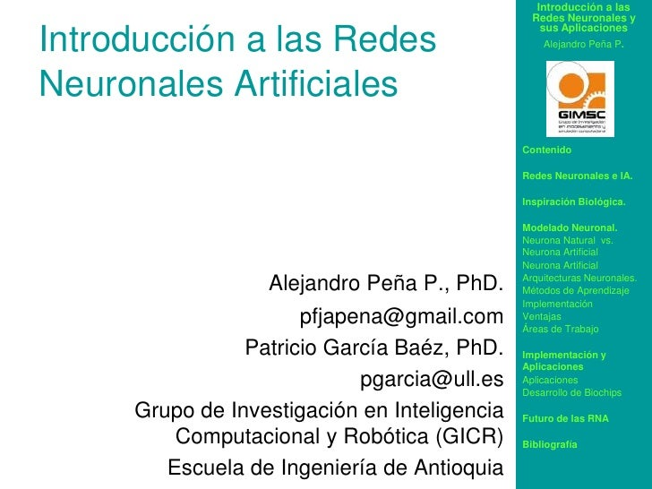 Introducción a las Redes Neuronales Artificiales