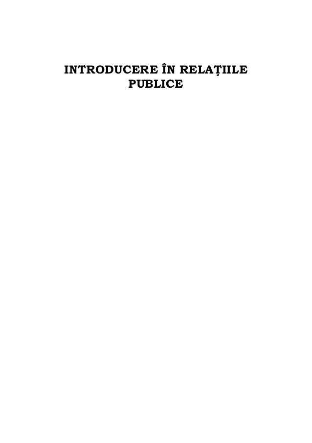 INTRODUCERE ÎN RELA IILE PUBLICE
