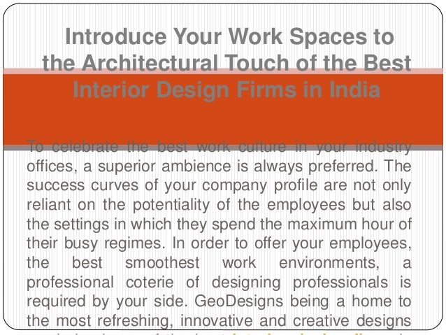 Introduce your work spaces to the architectural touch of for List of architectural firms in india