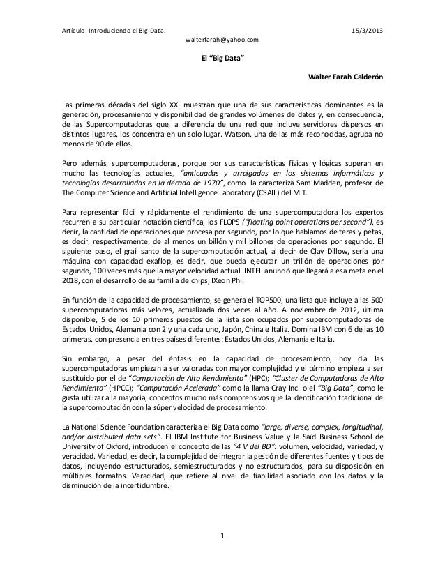 Artículo: Introduciendo el Big Data.                                                       15/3/2013                      ...