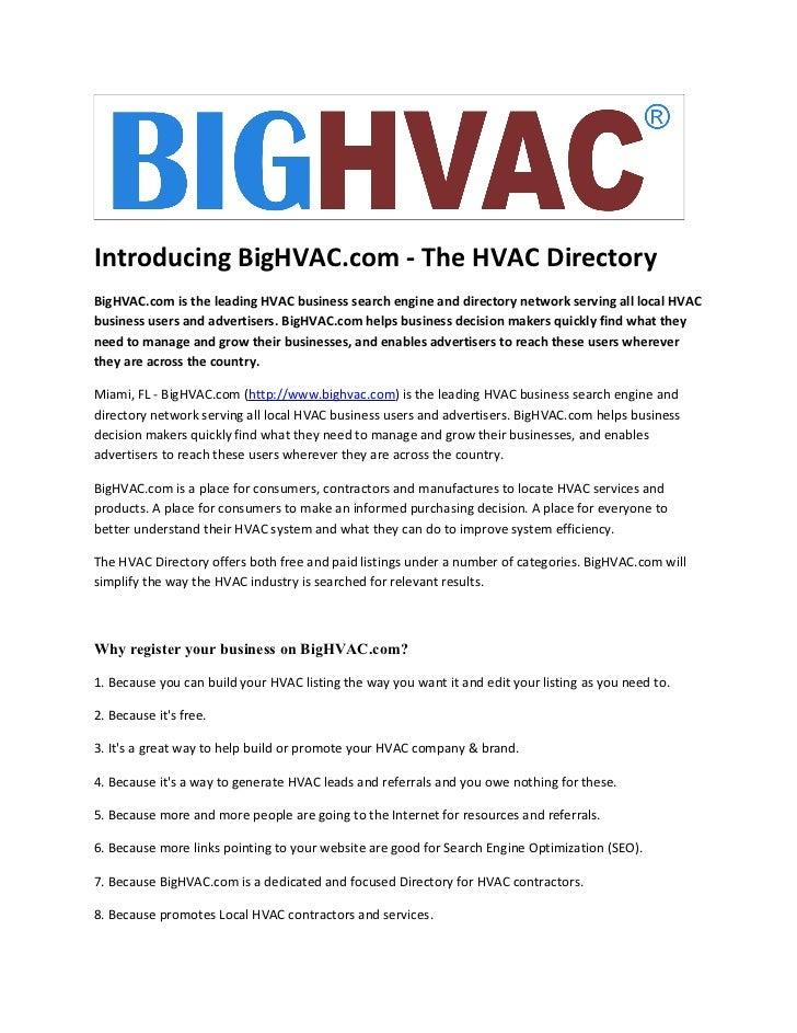 Introducing BigHVAC.com – The HVAC Directory